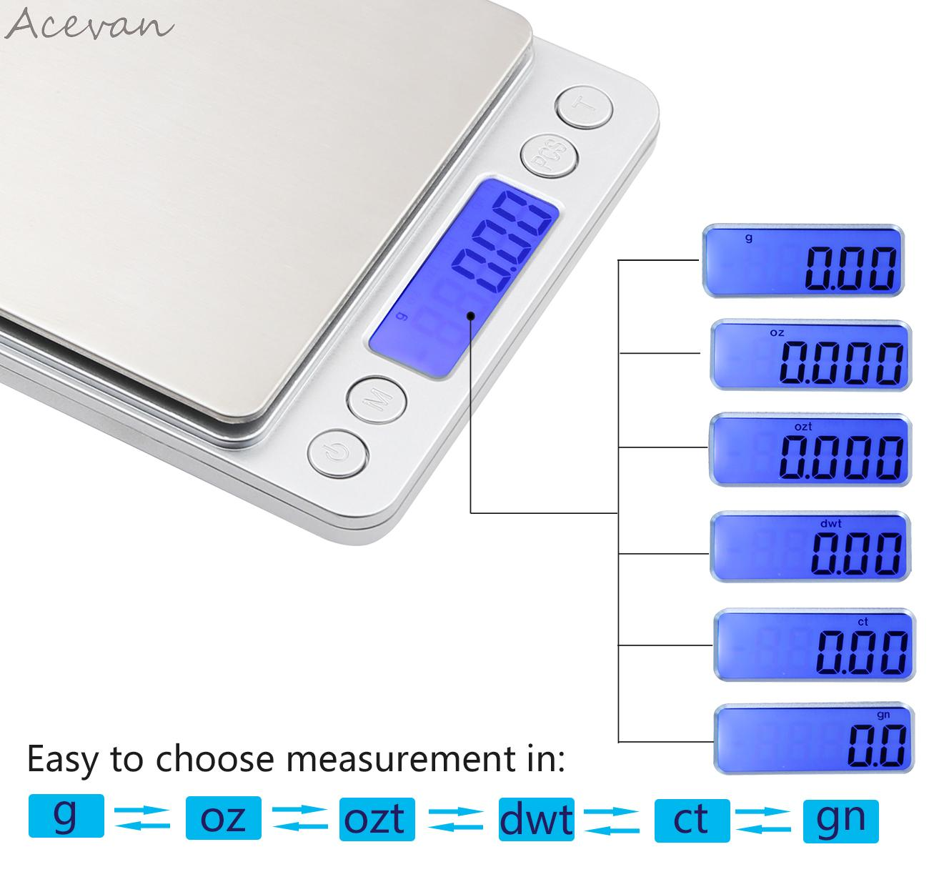 Acevan 500g001g digital pocket stainless jewelry kitchen food acevan fandeluxe Gallery